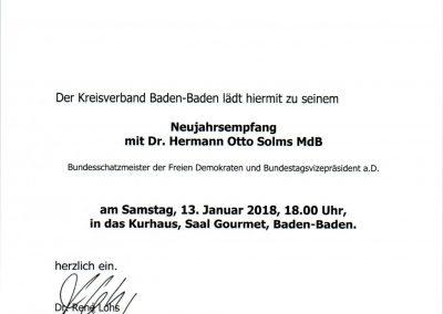 Einladung - Neujahrsempfang der FDP